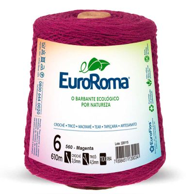 Barbante-Colorido-EuroRoma-nº-6-560-Magenta-Della-Aviamentos