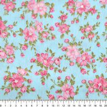 Tecido-Tricoline-Floral-Suelen-Flor-Fundo-Rosa-Azul