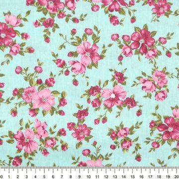 Tecido-Tricoline-Floral-Suelen-Flor-Fundo-Rosa-Verde-Jade