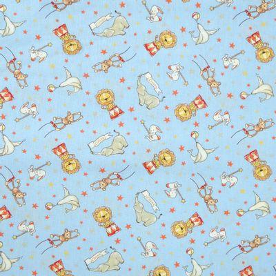 Tecido-Tricoline-Infantil-Animais-Acrobatas-Fundo-Azul-Com-Vermelho-9206
