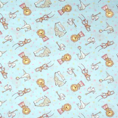 Tecido-Tricoline-Infantil-Animais-Acrobatas-Fundo-Azul-Com-Rosa-9205