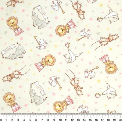 Tecido-Tricoline-Infantil-Animais-Acrobatas-Fundo-Creme-Com-Rosa