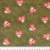 Tecido-Tricoline-Floral-Marilyn-Monroe-Fundo-Verde-Musgo