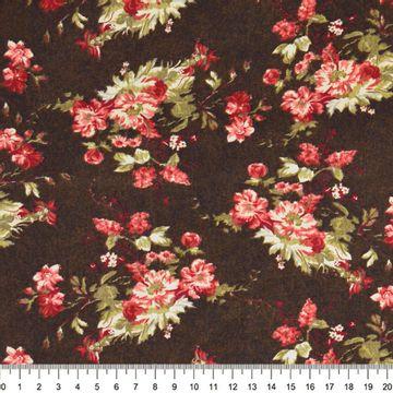 Tecido-Tricoline-Floral-Catherine-Fundo-Marrom