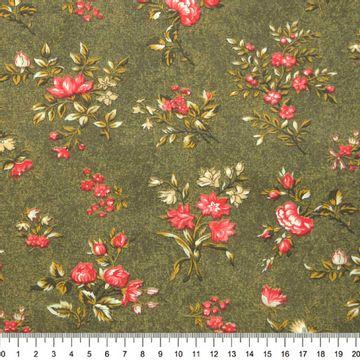 Tecido-Tricoline-Floral-Elizabeth-Taylor-Fundo-Verde-Musgo