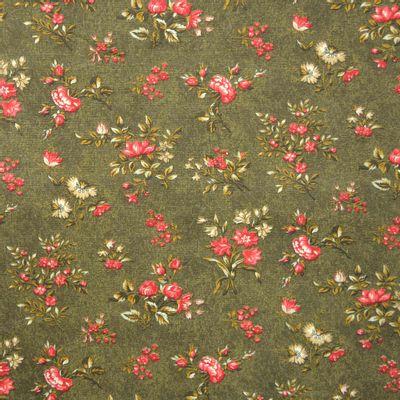 Tecido-Tricoline-Floral-Elizabeth-Taylor-Fundo-Verde-Musgo-9177