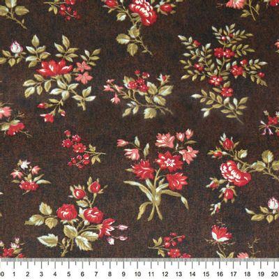 Tecido-Tricoline-Floral-Elizabeth-Taylor-Fundo-Marrom