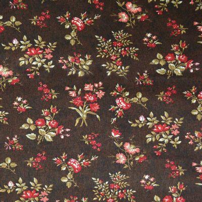 Tecido-Tricoline-Floral-Elizabeth-Taylor-Fundo-Marrom-9175