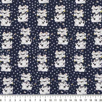 Tecido-Tricoline-Dalmatas-Fundo-Azul-Marinho-Della-Aviamentos
