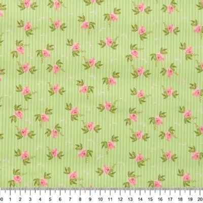 Tecido-Tricoline-Floral-Fundo-Listrado-Verde-Della-Aviamentos