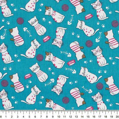 Tecido-Tricoline-Gatos-Brancos-Fundo-Tiffany-Della-Aviamentos