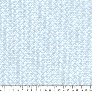 Tecido-Tricoline-Textura-Folha-Branca-Fundo-Azul-Della-Aviamentos