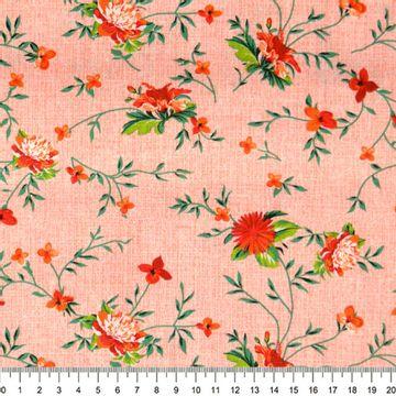 Tecido-Tricoline-Floral-com-Ramos-Fundo-Salmao-Riscado-Della-Aviamentos