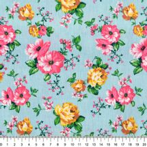 Tecido-Tricoline-Floral-Rosas-Amarelas-Fundo-Azul-Niagara-Della-Aviamentos