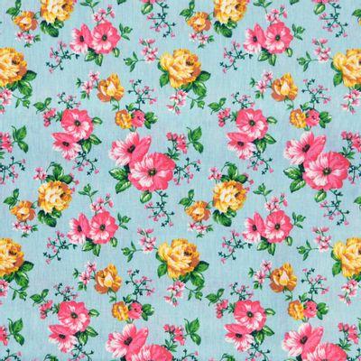 Tecido-Tricoline-Floral-Rosas-Amarelas-Fundo-Azul-Niagara-Della-Aviamentos-9335