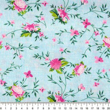 Tecido-Tricoline-Floral-Rosas-com-Ramos-Fundo-Azul-Riscado-Della-Aviamentos