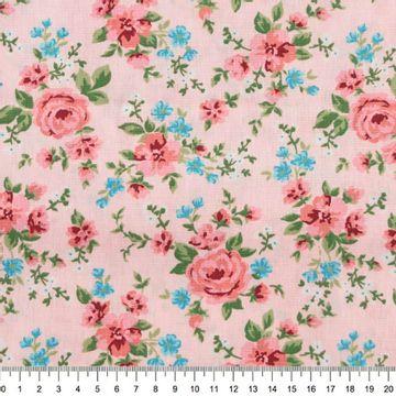 Tecido-Tricoline-Floral-Rosas-Salmao-Fundo-Rosa-Bebe-Della-Aviamentos