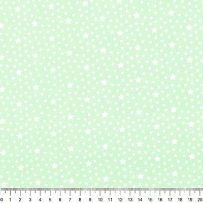 Tecido-Tricoline-Estrela-Branca-Fundo-Verde-Claro-Della-Aviamentos