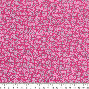Tecido-Tricoline-Floral-Mini-Caule-Verde-Agua-Fundo-Pink-Della-Aviamentos