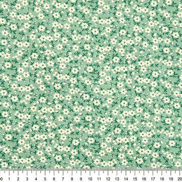 Tecido-Tricoline-Floral-Mini-Caule-Verde-Musgo-Fundo-Verde-Della-Aviamentos