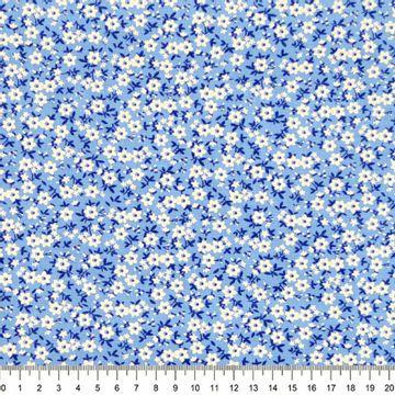 Tecido-Tricoline-Floral-Mini-Caule-Azul-Escuro-Fundo-Azul-Della-Aviamentos