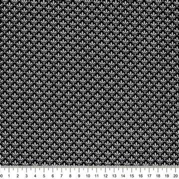 Tecido-Tricoline-Textura-Folha-Cinza-Fundo-Preto-Della-Aviamentos