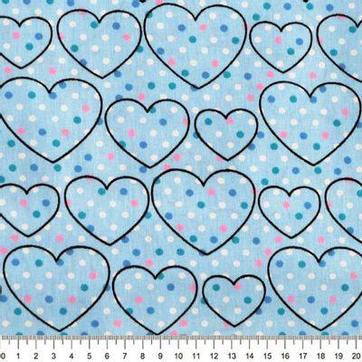 Tecido-Tricoline-Coracao-com-Poa-Fundo-Azul-Della-Aviamentos