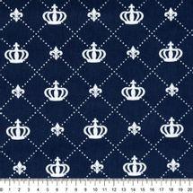 Tecido-Tricoline-Coroa-Grande-Fundo-Azul-Della-Aviamentos