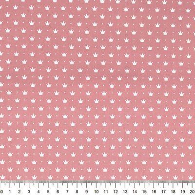 Tecido-Tricoline-Coroa-Pequena-Fundo-Rosa-Della-Aviamentos