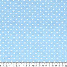 Tecido-Tricoline-Coroa-Pequena-Fundo-Azul-Bebe-Della-Aviamentos