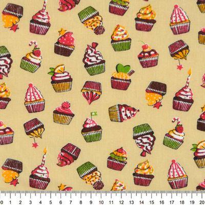 Tecido-Tricoline-Estampado-Cupcake-Fundo-Bege-Della-Aviamentos-9080