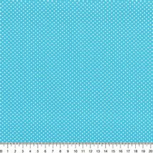Tecido-Tricoline-Estampado-Poa-Mini-Branco-Fundo-Azul-Turquesa-Della-Aviamentos-8733