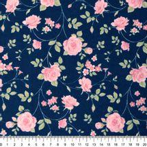 Tecido-Tricoline-Floral-Rosas-Medias-Fundo-Azul-Escuro-Della-Aviamentos-9471.