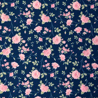 Tecido-Tricoline-Floral-Rosas-Medias-Fundo-Azul-Escuro-Della-Aviamentos-9471