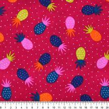 Tecido-Tricoline-Abacaxi-Colorido-Fundo-Vermelho-9628.