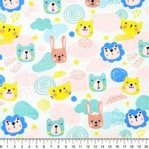 Tecido-tricoline-infantil-animais-coloridos-fundo-branco-Della-Aviamentos-9709.