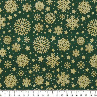 Tecido-Tricoline-Flocos-de-Neve-Fundo-Verde-Della-Aviamentos-9689.