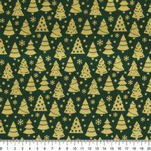 Tecido-Tricoline-Arvore-de-Natal-Dourada-Fundo-Verde-Della-Aviamentos-9692.