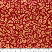 Tecido-Tricoline-Folhas-Douradas-Natalinas-Fundo-Vermelho-Della-Aviamentos-9693.