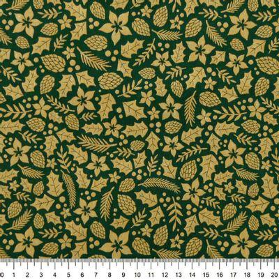 Tecido-Tricoline-Folhas-Douradas-Natalinas-Fundo-Verde-Della-Aviamentos-9694.