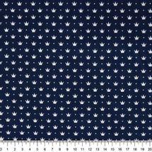 Tecido-tricoline-Coroa-Pequena-Fundo-Azul-Marinho-Della-Aviamentos-9736.